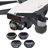 Dreamyth Economical 4-pack(ND4/ND8/ND16/ND32) For DJI SPARK Drone Gimbal Camera HD Lens Filter (Black)