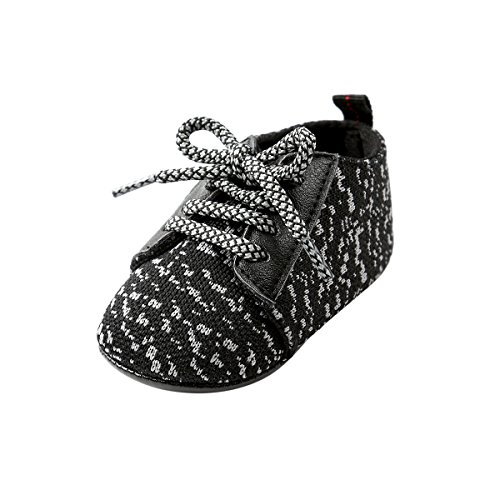 (Kuner Baby Boys and Girls Cotton Rubber Sloe Outdoor Sneaker First Walkers Shoes (12cm(6-12months), Black-1))
