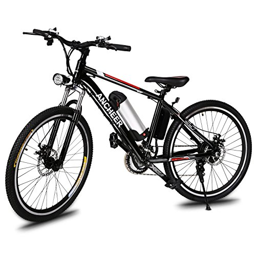 Ancheer Power Plus Electric Mountain Bike with Removable Lithium-Ion Battery, Battery Charger and Adjustable Chrome Handlebars