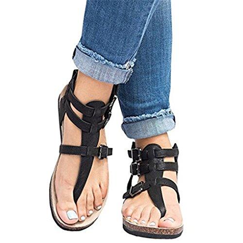 Plates Rétro B Sandales Chaussures Romaines Élégante Cheville Minetom® Été Plage Sandales Décontractée Boucle Orteil Clip Noirs String CxUIqnAgtw