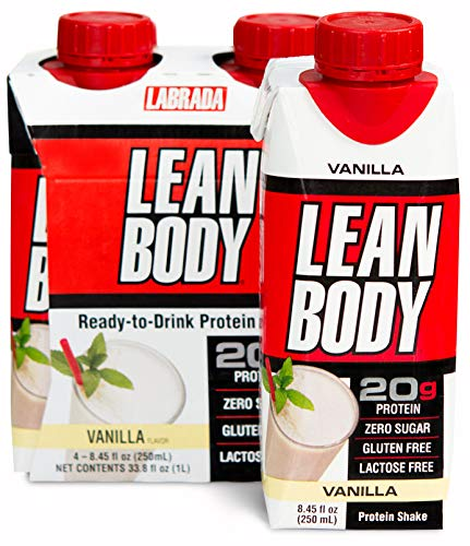 LABRADA – Lean Body Ready to Drink Protein Shake, Convenient On-The-Go Meal Replacement Shake for Men & Women, 20 Grams of Protein – Zero Sugar, Lactose & Gluten Free, Vanilla (Pack of 4)