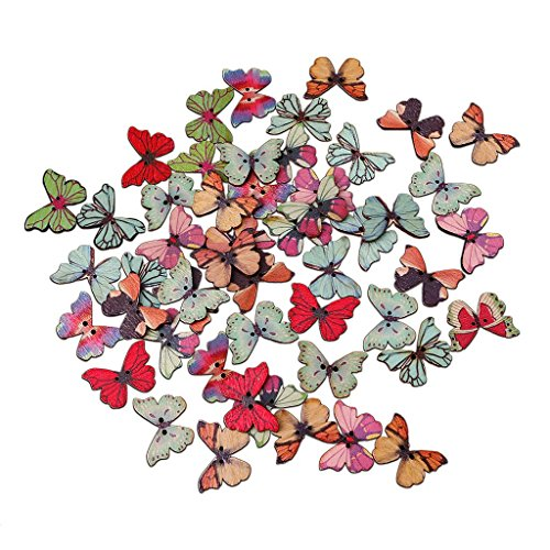 Butterfly Shape (Zeaya 50Pcs 2 Holes Mixed Wooden Buttons Set Colorful Butterfly Shape, DIY Scrapbooking Craft for Sport Coat, Sweater, Uniform, Jacket)