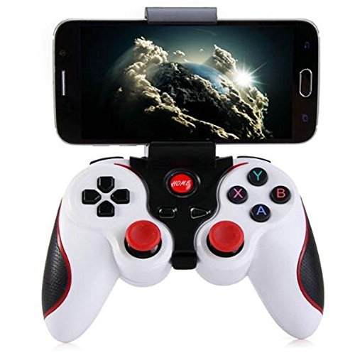 ZoneSmart Wireless Bluetooth Gamepad Game Controller Handle Remote Joystick For Android Tablet Console For iPhone TV Box PUBG (White with holder)