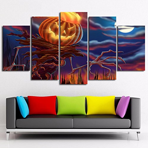 Halloween Pumpkin Decor ([Small] Premium Quality Canvas Printed Wall Art Poster 5 Pieces / 5 Pannel Wall Decor Halloween Pumpkin Head Painting, Home Decor Pictures - With Wooden Frame)