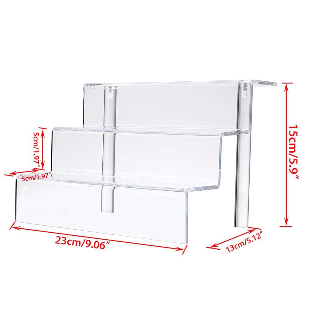 "Figure Stand 2 Pcs 9/""*6/"" BTSKY 2PCS Acrylic 3 Tier Display Shelf"