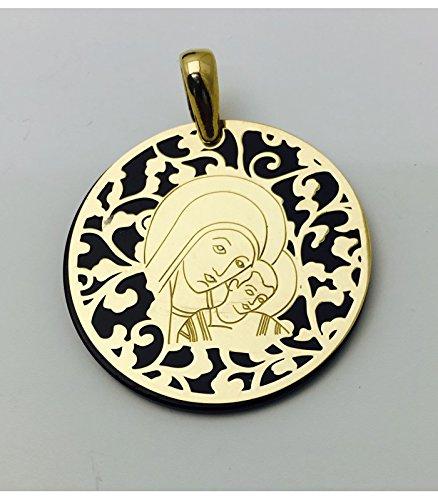Médaille Vierge du chemin ónix et argent plaqué or 35mm