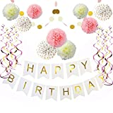 Pink and Gold Birthday Decorations, Pom Poms Flowers Kit ,Happy Birthday Banner,Paper Garland,Hanging Swirl for 1st Birthday Girl Decorations Kids Birthday by Sogorge