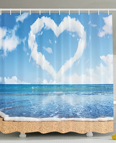 Tropical Beach Shower Curtain by Ambesonne, Scenery Decorations Heart Shaped Clouds Honeymoon (Heart Shower Curtain)