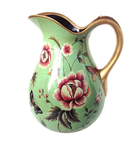Country Time Flower and Butterfly Wrapped Display Pitcher. Green Body with Gold Trim