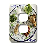 lsp_37364_6 Florene Jewish Theme - Pesach Plate With Passover Foods - Light Switch Covers - 2 plug outlet cover
