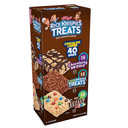 Kellogg's Rice Krispies Treats, Crispy Marshmallow Squares, Chocolate Lovers Variety Pack, Single Serve, 0.78 oz Bars (40 Count)