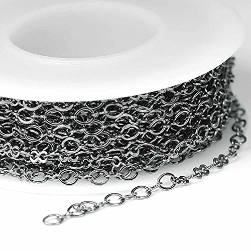 Links Alternating Oval (Chainologie Gunmetal/Hematite Chain _#27: 3x3.5mm Flat Peanut/Oval Link Cable Chain (per 25-foot spool))