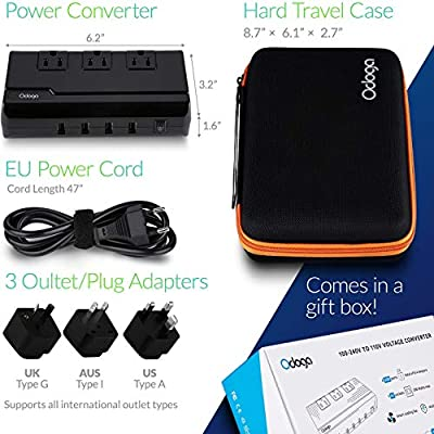 Odoga Voltage Converter 220V to 110V Travel Adapter with 4 USB Ports 3 AC Outlets and UK/Europe/AUS International Travel Plugs for More Than 150 Countries: Automotive