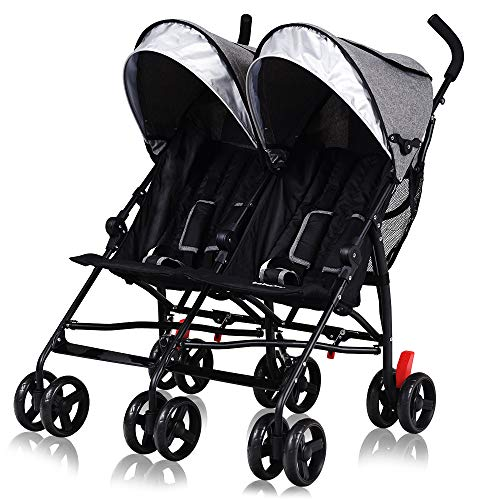 Cchainway Double Stroller, Ultra-Lightweight Umbrella Stroller, Foldable Twin Infant Toddler Stroller with 5-Point Harness, Adjustable Sun Canopy for Baby Toddlers (Grey)