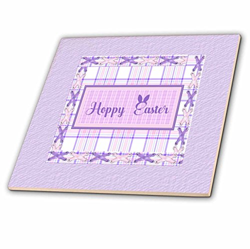 3dRose Beverly Turner Easter Design and Photography - Hoppy Easter with Bunny Ears, Frame, Lavender Plaid and Eyelet Ribbon - 4 Inch Ceramic Tile (Gloss Eyelet)
