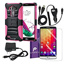Fosmon Bundle for LG G4: (STURDY) Heavy Duty Hybrid Shell Case with Kickstand and Holster, Micro-USB Charger Combo Pack (Car Charger/Travel Charger/USB Cable), and 3-Pack Screen Protector HD CLEAR [Japan Hard Coating Film] for LG G4 (Pink)