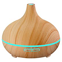 VicTsing 300ml essential oil diffuser, wood grain bpa-free whisper quiet cool mist humidifier, 14.4 Ounce
