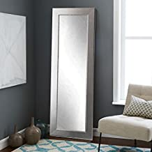 "BrandtWorks BM12THIN Mod Euro Full Length Mirror, 71 x 21.5"", Brushed Silver"
