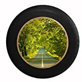 Full Color On the Road Again Travel Roads Scenic Drive Life's Journey Jeep RV Camper Spare Tire Cover Black 29 in
