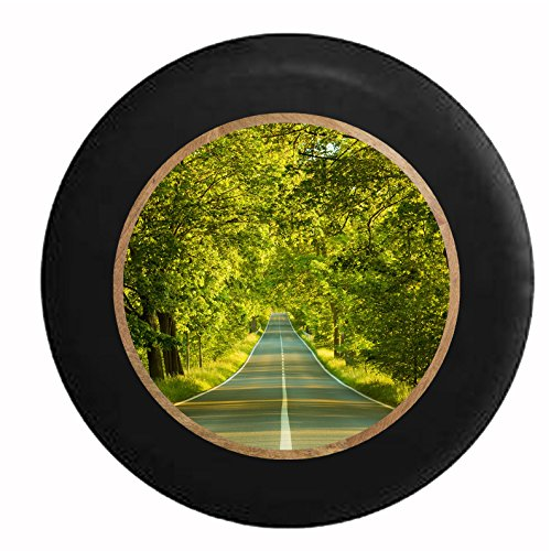 Full Color On the Road Again Travel Roads Scenic Drive Life's Journey Jeep RV Camper Spare Tire Cover Black 29 in by Pike Outdoors