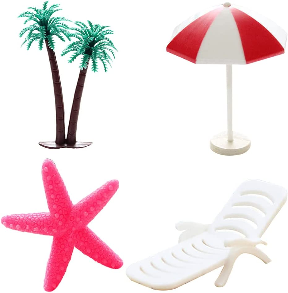 BESPORTBLE 4pcs Dollhouse Decor Beach Miniature Ornaments Kit Set Coconut Tree Beach Chair Umbrella Sea Animals for Fairy Garden Bonsai Dollhouse Ocean Aquarium Terrariums Decoration