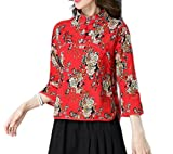 Coolred-Women Flower Printed Plus Size Chinese Style 3/4 Sleeve Skinny Tunic Top Shirts Red 2XL