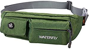 WATERFLY Water Resistant Waist Bag Fanny Pack / Hip Pack Bum Bag for Man Women Sports Travel Running Hiking / Money iPhone 6 / 7 6S / 7S Plus Samsung S5 S6 (Army Green)