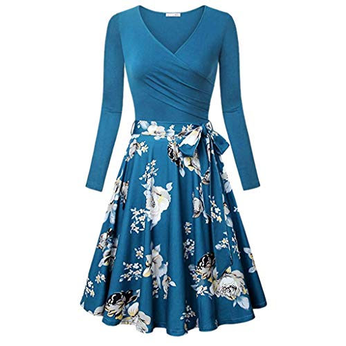 TnaIolral Women Dresses Long Sleeve Vintage Elegant Flared Swing Blue