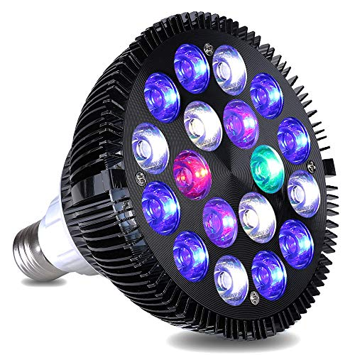 KINGBO LED Aquarium Light Nano, 18W LED Aquarium Lighting Bulb with 6-Band Full Spectrum for Fish Tank Coral Reef Saltwater Tank Plants Growth