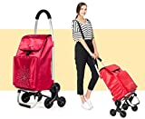 LUCKYYAN 60L Lightweight 6 Rounds Shopping Trolley - Waterproof Insulation Shopping Bag - Hard Wearing & Foldaway for Easy Storage , Red