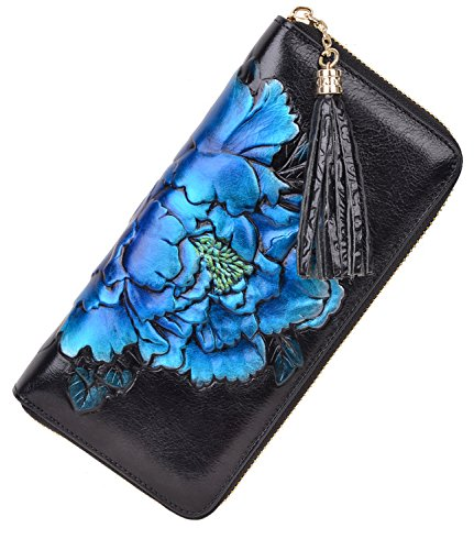(PIJUSHI Leather Wallets For Women Floral Wristlet Wallet Card Holder Purse (85006 Black/Blue Peony))