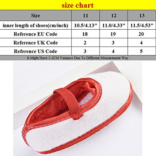 Zhhlinyuan Cute Girls Bebé Soft Sole Shoes Toddler Silk Crib Shoes Princess shoes Red
