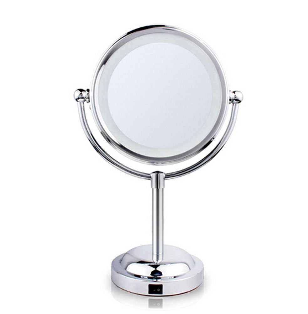 YN-Monedie Makeup mirrors 3X LED magnifying mirror Bathroom double-side battery-operated bathroom mirror
