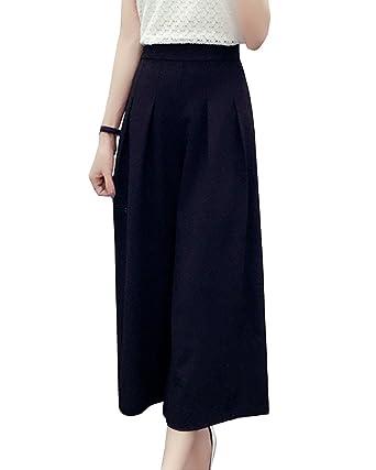 LaoZanA Damen Casual Hosen Hohe Taille Elegant Weite Hosen Sommerhosen  Freizeithosen Culotte Hosen Schwarz 2XL ee071ba2cd