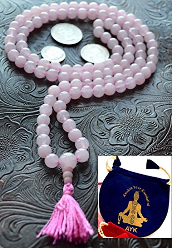Rose Quartz mala beads necklace 8mm 108+1 Om prayer beads yoga meditation japa mala Energized buddhist karma rosary for nirvana chanting awakening chakra - w/ Free velvet mala pouch - US Seller