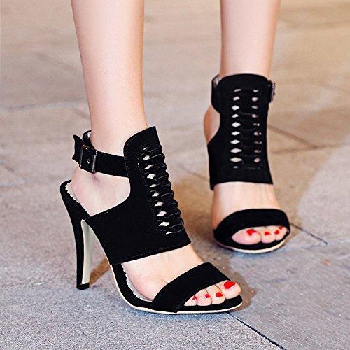 Mee Shoes Damen high heels Slingback Schnalle Sandalen Schwarz