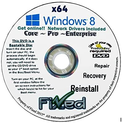 Recovery disc compatible w/ WINDOWS 8.1 x64 (Core ~Pro ~Enterprise) Reinstall Factory Fresh! Repair/Recovery/Restore Boot Disc ~Fix PC~ W/Network Drivers~Full Support Included