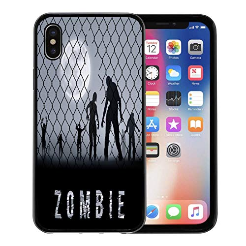 Semtomn Phone Case for Apple iPhone Xs case,Cell Zombie Walking at Night Silhouettes for Halloween Dead Arrest for iPhone X Case,Rubber Border Protective Case,Black