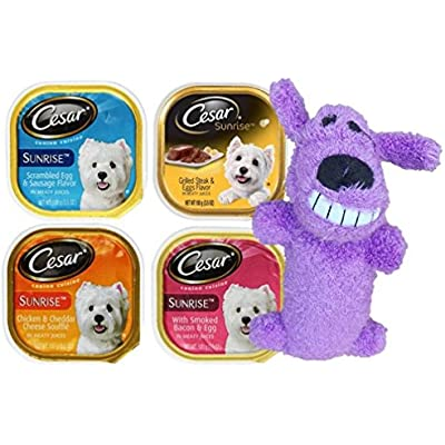 Cesar Sunrise Dog Food 4 Flavor 8 Can with Toy Bundle: (2) Scrambled Egg & Sausage, (2) Grilled Steak & Eggs, (2) Chicken & Cheddar Cheese Souffle, (2) Smoked Bacon & Egg, (1) Toy, 3.5 Oz. Ea.