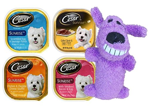 Cesar Sunrise Dog Food 4 Flavor 8 Can with Toy Bundle: (2) Scrambled Egg & Sausage, (2) Grilled Steak & Eggs, (2) Chicken & Cheddar Cheese Souffle, & (2) Smoked Bacon & Egg, (1) Toy, 3.5 Oz. Ea.