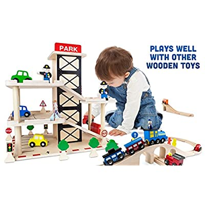Imagination Generation Downtown Deluxe Wooden Parking Garage Ramp & Service Station Playset with Elevator, Signs & Accessories for Mini Toy Cars (19 pcs): Toys & Games