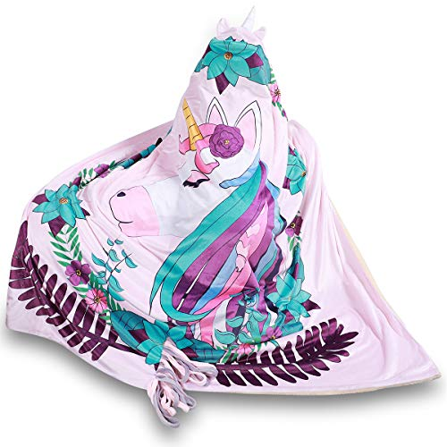 (FamFun Baby Unicorn Blanket for Kids - Throw Blankets Wrap with Hood - Super Soft Comfy Large Comforter 50