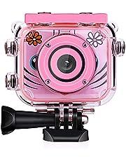 POSIVEEK Kinder Kamera HD Wiederaufladbar Digital Kinder Camcorder Unterwasser Action Cam Wasserdicht 30Meter Neujahr Geburtstag Spielzeug Geschenk für Kinder Jungs Mädchen mit 2.0 LCD Bildschirm