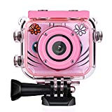 Posiveek Children Kids Camera Waterproof 100FT HD Action Camera 1080P 12MP Sports Camera Camcorder 2 inch LCD Screen (Pink)