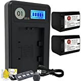 DOT-01 2x Brand 2400 mAh Replacement Sony NP-FH70 Batteries and Smart LCD Display Charger for Sony A380 Digital SLR Camera and Sony FH70 Accessory Bundle
