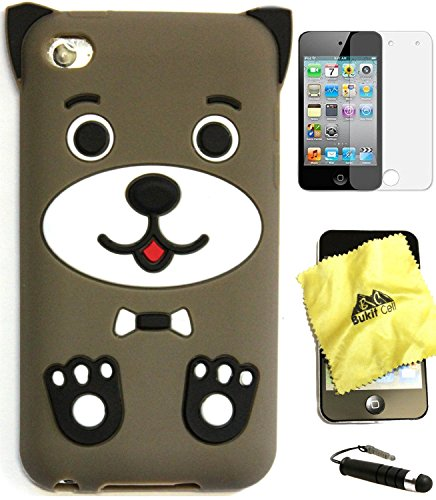 Bukit Cell Bundle: Apple Ipod Touch 4 MUD Brown Puppy Silicone Animal Cartoon cute lovely Fun Case + Screen Protector + Lint Cleaning Cloth + Metallic Touch Stylus PEN