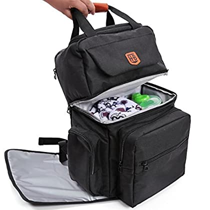 2f38a8343f Happy-Bebe Diaper Bag Backpack for Dad and Mom with Baby Changing Pad,  Stroller Straps, Large Dual Compartments and 18 Organizer Pockets, Black