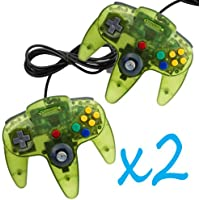 2 New Clear Green Long Handle Controller Pad Joystick for Nintendo 64 N64 System