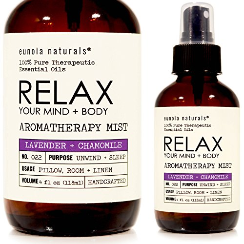 Eunoia Naturals RELAX Calming Deep Sleep, PURE Therapeutic Essential Oil, Lavender Pillow Mist, Lavender Chamomile Aromatherapy Mist, Lavender Linen Spray, Lavender Sleep Spray for Pillows, 4oz ()