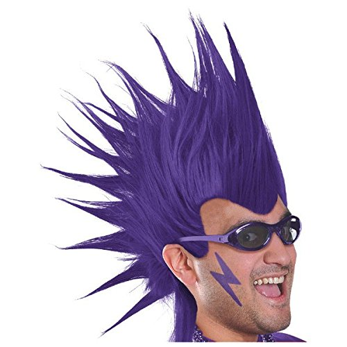 amscan Party Perfect Team Spirit Crazy Mohawk Wig Accessory, Purple, Synthetic Fiber , 11
